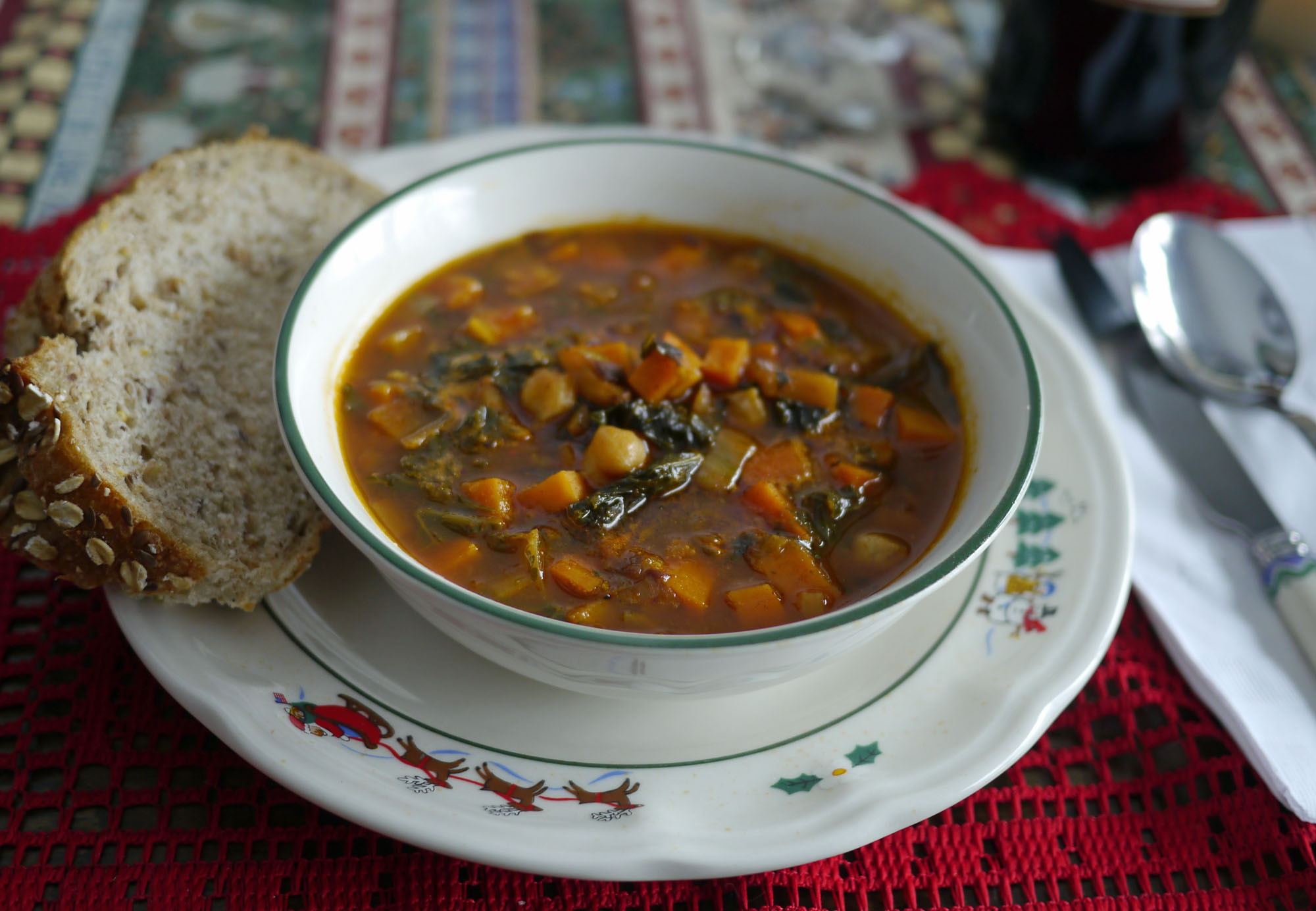 Spicy Chickpea and Leek Soup with Kale